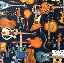 RPB102X Amped Up Electric Guitars Rock Music String Retro Cotton Quilting Fabric