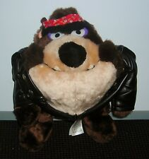 "WARNER BROTHERS MOTORCYCLE JACKET BANDANA TASMANIAN DEVIL 9"" POSE ABLE PLUSH"