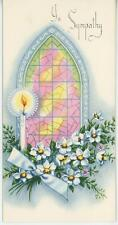 VINTAGE CHURCH STAINED GLASS WINDOW CANDLE WHITE PLUME ROSE SYMPATHY CARD PRINT