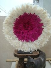 "32"" / Fuschia & White / African Feather Headress  / Juju Hat / fine Quality"