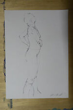 Original Nude Female Studio Life Drawing Standing pose in Pencil 29.5cm x 41cm