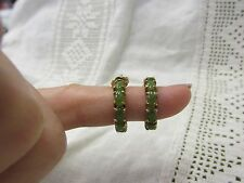 Vintage Translucent Green JADE Sterling Silver Gold Gilt Overlay Hoop Earrings