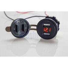 Waterproof Car 4.2A Dual USB Red LED Charger Socket Voltage Voltmeter Panel DG