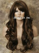 Extra LONG HUMAN HAIR Blend  Wavy Heat SAFE Dark brown Mix Wig WBNY 4-27