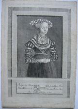 Margaretha Herzogin Bayern (1395 -1447) Orig Kupferstich um 1750 Zimmermann