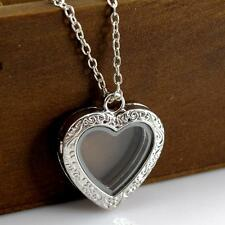 Friendship Lover Living Memory Locket Crystal Floating Heart Pendant Necklace A+