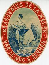 """""""BRASSERIES DE LA MEUSE (BAR-LE-DUC/SEVRES)"""" Etiquette-chromo originale fin1800"""