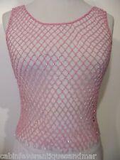 Designer Formal Dance Party Costume Bridal Pink Crochet Mesh Ice Bead Top SM