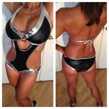 Connie's Costume Bikini One Piece Metallic Raider's Black and Silver Bikini S/M