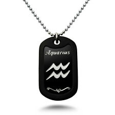 AQUARIUS Zodiac Sign Aluminum Dog Tag Necklace 24 Inches Made in USA