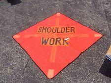"""GRAINGER SHOULDER WORK 48"""" MESH ROAD REFLECTIVE SIGN SYMBOL SAFETY FLAG NEW  $49"""