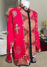 1992 vintage GIANNI VERSACE red silk shirt The Crosses / Le Croci print size 48