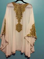 Moroccan Dubai abaya Off white  gold lace Tunic Plus Size UK 14 16 18 20 22 24