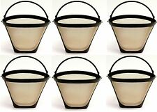 6 PACK Universal Gold Tone Permanent #4 Cone Coffee Filter Cuisinart, Krups 214