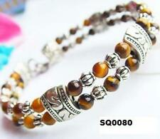 Brown Amber Tiger Eye Tibetan Silver Bracelet Women's Ethnic Birthday Gift Wife