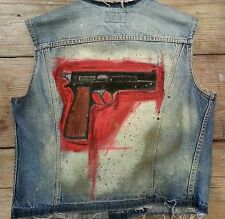 Custom painted Levis denim Vest skull w/ pistol Chest Size 42