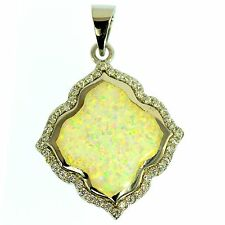 VIVID WHITE OPAL & CZ PENDANT STERLING SILVER BRIGHT COLORFUL FASHION JEWELRY