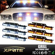 54 White / Amber LED Emergency Car Vehicle Flash Strobe Lights For Front Grill