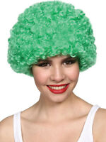 Green Stylish Curly Afro Wig Clown 70s Disco Style Unisex Fancy Dress Party