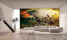 Vintage With Flowers And Butterfly Wall  Photo Wallpaper GIANT WALL DECOR PAPER
