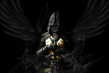 Framed Print - Dark Gothic Angel with a Face of Smoke (Poster Picture Goth Art)