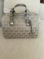 MICHAEL Michael Kors Signature MK Jacquard GRAYSON Medium Satchel Handbag Bag