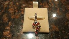Authentic Chamilia Candy Cane With Yellow Gold Christmas Charm