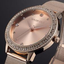 Taylor Cole Fashion Lady Women Rose Gold Stainless Steel Quartz Crystal Watch