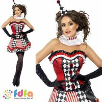 FEVER JESTER BOUTIQUE CLOWN CUTIE - UK 8-18 -  womens ladies fancy dress costume