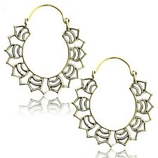 "PAIR TRIBAL 1"" 3/8 INCH LOTUS BRASS PLUGS EARRINGS GAUGES HOOPS HANGERS"