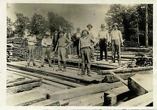 GROUP OF CONSTRUCTION WORKERS WITH TOOLS & VINTAGE PHOTO SOMERVILLE, NJ STUDIO