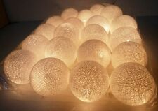 WHITE COTTON BALL CHRISTMAS STRING LIGHTS 20 PARTY,PATIO,DECOR,WEDDING,GARLAND