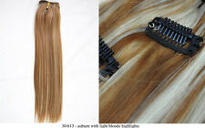 """Recurlable Human Hair Mix Blend CLIP ON IN Extensions 10 pc - Yaki Straight 18"""""""