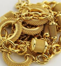 """80s PRISTINE VINTAGE MONET Jewelry GOLD METAL CHAIN & RING STATION NECKLACE 36"""""""
