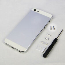 White Metal Back Battery Door Housing Cover Case Replacement For iPhone 5S+Tools