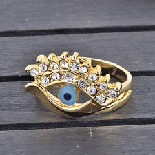 New Blue eye Evil eye Rings Gold Filled White Cubic Zirconia Mens Rings Size 9