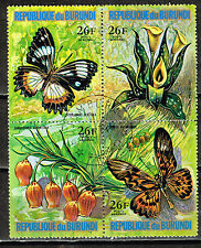 Burundi African Butterflies and Flowers stamps block 1974