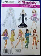 Simplicity Barbie Clothes Sewing Pattern Wedding Dress Mermaid Bustier Doll 4719
