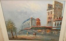 "CAROLINE BURNETT ""MOULIN ROUGE"" MARKET PARIS STREET SCENE OIL ON CANVAS PAINTING"