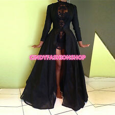 Women Elegant Long Sleeve 2PC Set Ball Gown Party Club Black Lace Long Dress