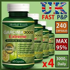 4 x BOTTLES GARCINIA CAMBOGIA Capsules 3000mg Daily Fat Burners Weight Loss Diet