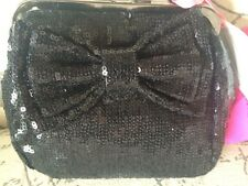 NWT Betsey Johnson Black Sequin Kiss Lock Bow Mini Clutch Evening Handbag Purse