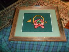Vintage Wood Frame Glass Top Needlepoint Serving Or Vanity Tray W/ Handles