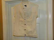 Kate Spade Saturday Cream color Sleeveless Denim Vest size XS, NWT