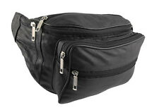 7 ZIP REAL LEATHER WAIST BUM BAG MONEY POUCH BELT TRAVEL BAG PASSPORT DOCUMENTS