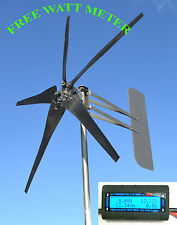 KT5 Wind Turbine 5 Blade LOW WIND 1000W 48 volt DC 2 wire 3.75 kWh  w/WATT