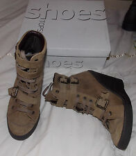 Topshop,  brown, suede, lace-up, ankle boots. 3.5'' wedge heel. UK 6. VG. box
