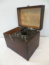 "VINTAGE 1920s ""TELE-RADIO"" OLD ANTIQUE CRYSTAL RADIO RECEIVER & WOOD TUNER BLOCK"