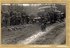 Cpa Carte Photo Tableau de Chasse Hunting Chasseurs Lapins Rabbit vq26