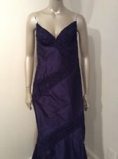 Richard Tyler Couture Silk Fishtail Train Evening Gown Size 6 Ruched Purple